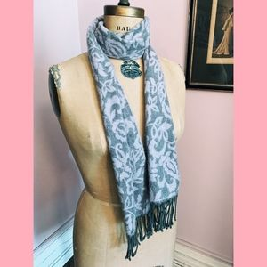 Accessories - Pink + Gray Floral Wool Fringe Scarf